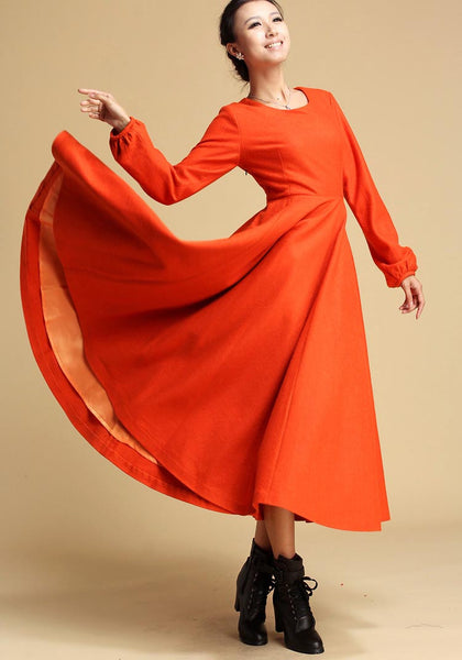 wool Maxi dress orange long dress Long sleeve dress (323)