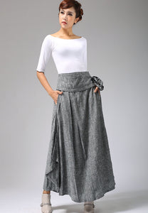 Handmade Long Wrap Skirt in Grey  0689#