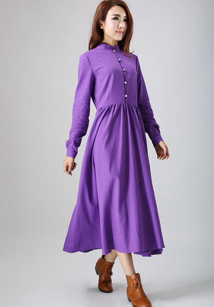 purple dress woman maxi dress long linen dress custom made long sleeve dress (799)