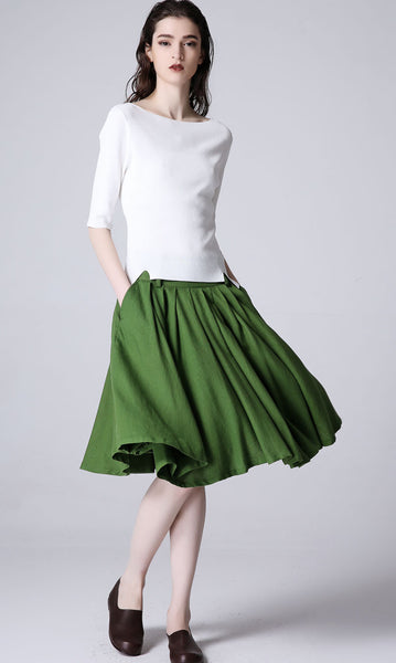 Green linen skirt midi skirt women skirt (1188)