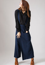Load image into Gallery viewer, Blue linen trousers woman long pants (841)