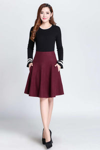 wine red skirt