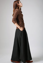 Load image into Gallery viewer, Woman maxi slong linen skirt in Black 0902#