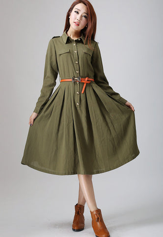 Army Green dress woman linen dress custom made midi dress (797)