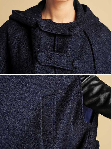 Military wool cape coat, winter outerwear 0391#