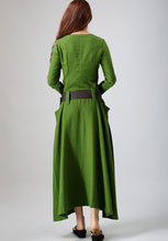 Load image into Gallery viewer, Long sleeve casual maxi linen dress 0784#