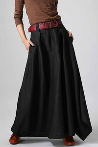 Woman maxi slong linen skirt in Black 0902#
