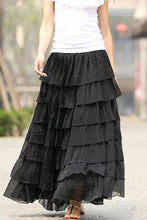 Load image into Gallery viewer, Women's long maxi chiffon skirt in black 0939#