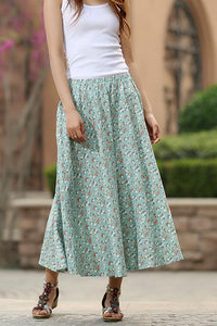 Green floral skirt woman summer skirt custom made print skirt long linen skirt 0948#