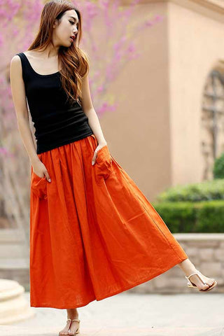 Casual maxi linen skirt with elastic wasit and big pocket 0958#
