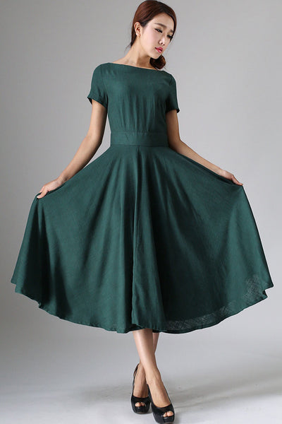 Maxi Linen Dress, Green Pleated dress 0971#