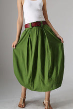 Load image into Gallery viewer, women's linen bubble skirt in green 0984#