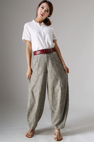 Maxi linen pants baggy pants for women 0986#