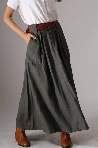 Women's maxi linen skirt with big pocket in Green 0987#