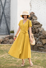 Load image into Gallery viewer, Yellow short sleeve V linen wrap dress with belt 280301