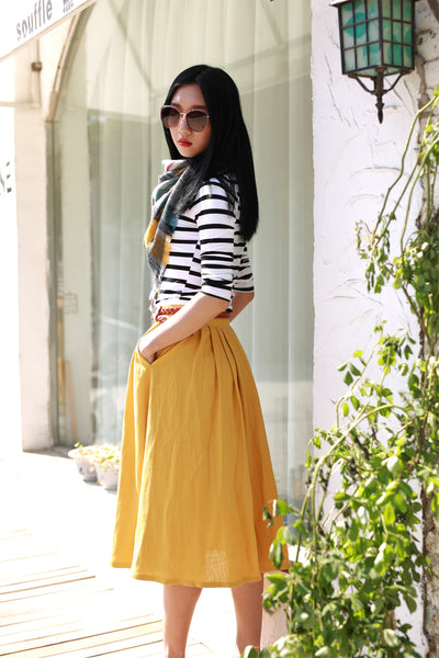 yellow linen pleated skirt 2170