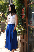 Load image into Gallery viewer, maxi linen skirt with elasit waist and self belt 2167#