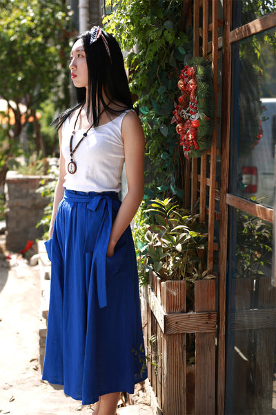 maxi linen skirt with elasit waist and self belt 2167