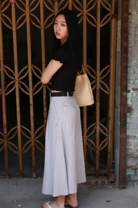 Gray A line maxi skirt with big pocket 2173#