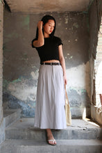 Load image into Gallery viewer, Gray A line maxi skirt with big pocket 2173#