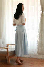 Load image into Gallery viewer, handmade wrap maxi skirt in light blue 2175#