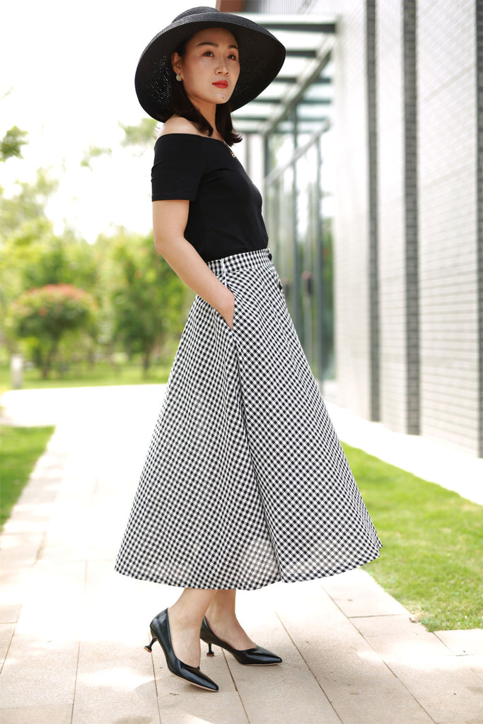 plaid button front skirt, high waisted skirt 2195