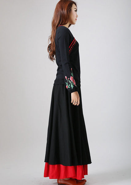 Black maxi skirt with red layerd hem 780