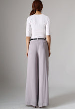 Load image into Gallery viewer, Grey maxi chiffon pants (977)