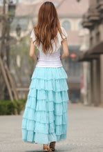 Load image into Gallery viewer, long maxi layered chiffon skirt 0938#