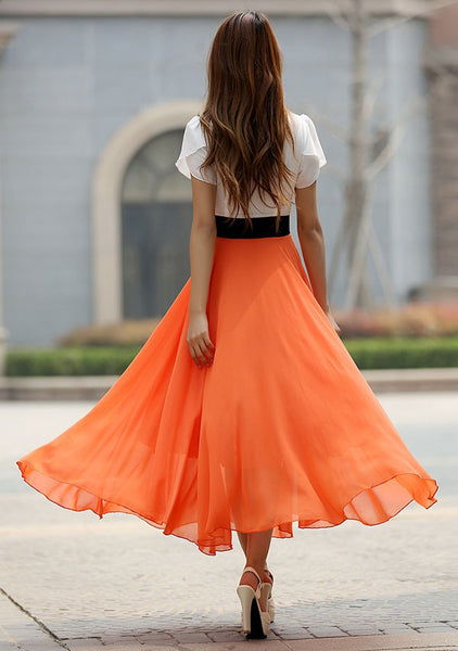 Orange chiffon maxi dress (926)