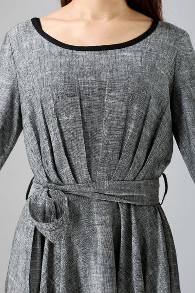 Linen causal maxi women dress in gray (792)