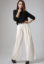 Load image into Gallery viewer, Women's white linen Palazzo pants 0916#