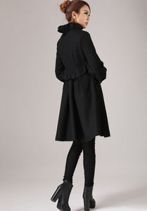 Warm winter black wool coat with ruffle detail 0775#