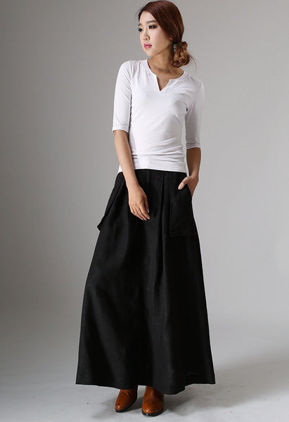 Black linen skirt with Big Pocket Detail - womens long skirt - Classic Women Fashion (979)