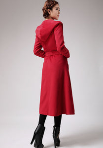Charming Red Winter Wool Coat Long Jacket 0714#