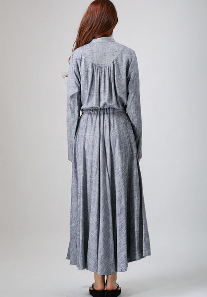 gray linen dress woman causal dress long sleeve dress custom made (791)