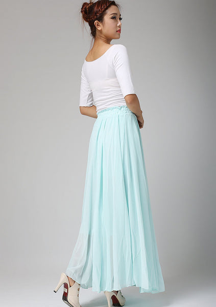 Long chiffon skirt - women long skirt with elastic skirt - Custom made (661)