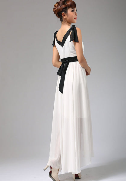 white chiffon dress maxi dress prom dress wedding dress long dress (668)