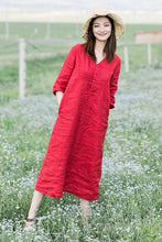 Load image into Gallery viewer, long linen dress for summer with 3/4 sleeves and v-neck CYM469