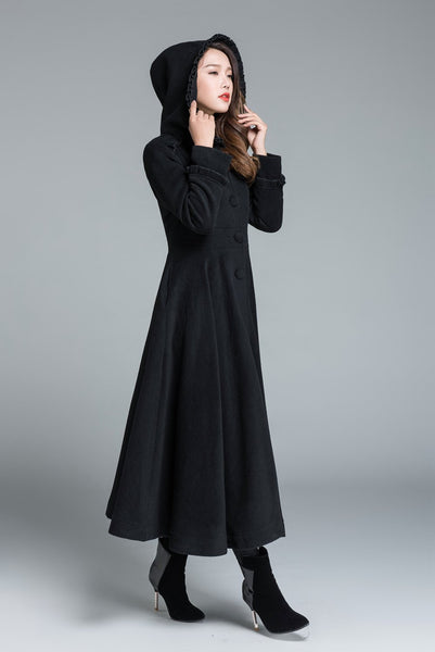Black wool coat, winter coat, princess coat 1649