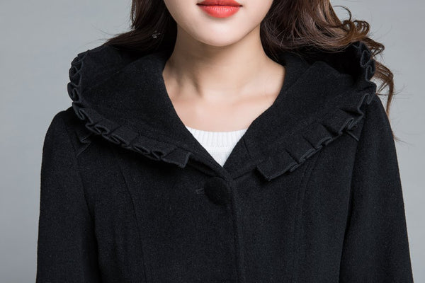 Black wool coat, winter coat, princess coat 1649#