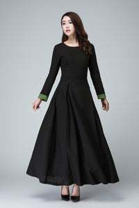 Black dress linen dress maxi dress women dress 1450#
