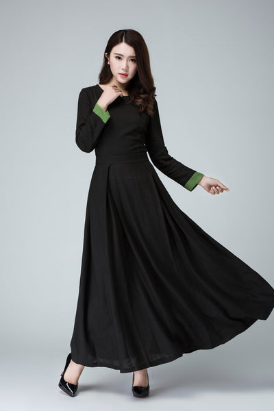 Black dress linen dress maxi dress women dress 1450