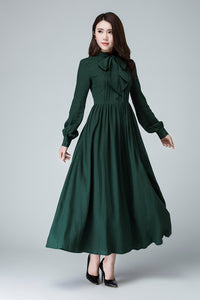 handmade long sleeve shirt dress in green 1455#