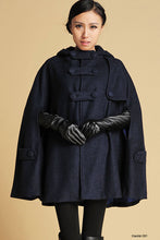 Load image into Gallery viewer, womens's hooded cape coat 1130#