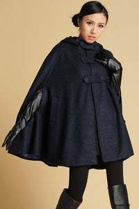 Oversized wool cape in Navy 0391#