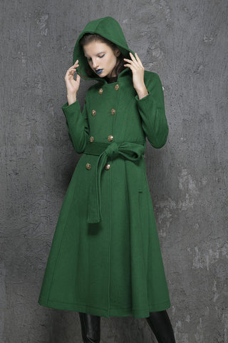 Green wool coat long winter warm coat (1346)