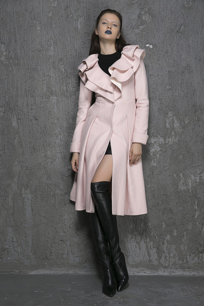 Ruffled Collar Winter Coat - Pink Long Wool Coat (1348)