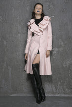 Load image into Gallery viewer, Ruffled Collar Winter Coat - Pink Long Wool Coat (1348)