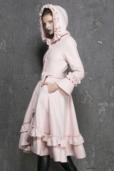 pink ruffle wool coat
